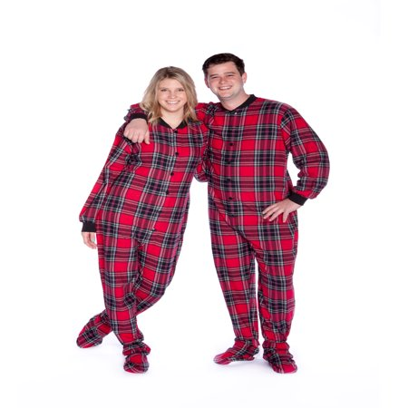Red & Black Plaid Cotton Flannel Adult Footie Pajamas Sleeper Footed Pajamas Cotton Footed Sleeper Pajamas