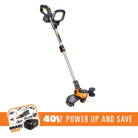 "WORX WG180 40V 2-In-1 String Trimmer/Edger With 12"" Trim Diameter, CommandFeed, 90° Tilting Head And Telescoping - Dual Line Trimmer Head"