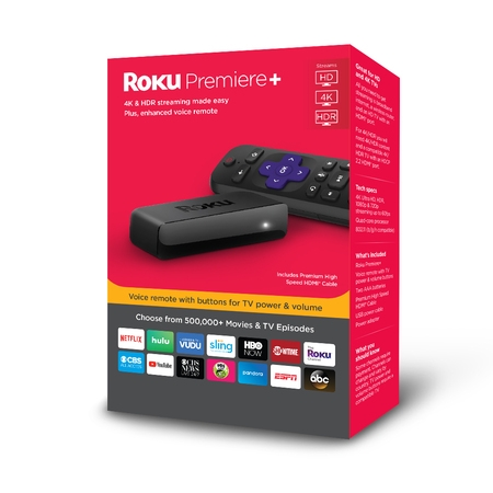 Roku Premiere+ 4K HDR Streaming Player - WITH 30-DAY FREE TRIAL OF SLING INCLUDING CLOUD DVR ($40+ (Best 4k Kodi Box)