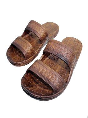 Rubber Double Strap Jesus Sandals By Imperial Hawaii for Women Men and Teens (Womens Size 9, Mens size 7.Brown)
