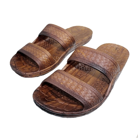 Rubber Double Strap Jesus Sandals By Imperial Hawaii for Women Men and Teens (Womens Size 9, Mens size - Brown Women Flat Sandals