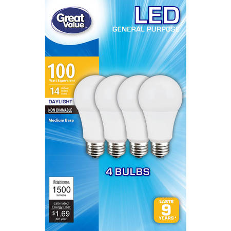 Light Bulb Collection - Great Value LED Light Bulbs 14W (100W Equivalent), Daylight, 4-Pack