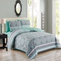 6 Piece Medallion Floral Patchwork Reversible Bedspread/Quilt with Sheet Set