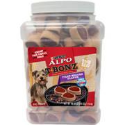 ALPO T-Bonz Filet Mignon Flavor Steak-Shaped Dog Treats 40 oz. Canister
