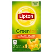 (4 Boxes) Lipton Green Tea Bags Mandarin Orange 20 ct