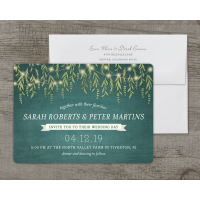 Personalized Wedding Invitation - Greenery Lights - 5 x 7 Flat Deluxe