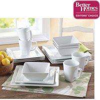 Better Homes & Gardens 16-Piece Square Porcelain Dinnerware Set, White