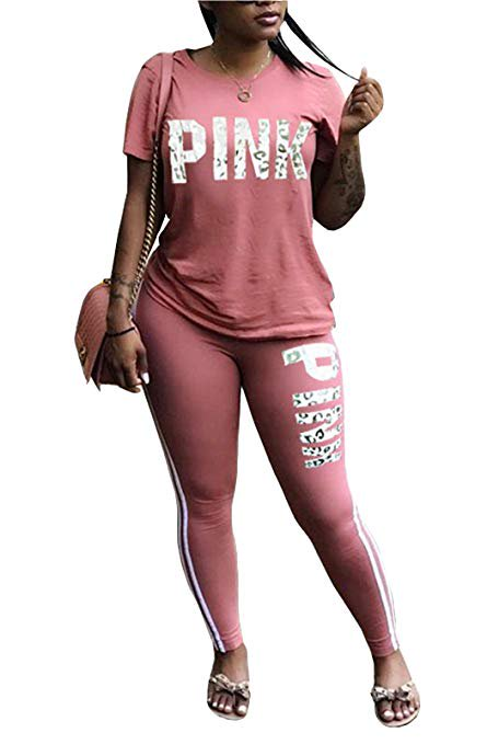 Women Pink Word Letter Print V Neck Sweatshirt Pantsuits Sweatpants Jumpsuits 2 Piece Outfits](Grown Woman Outfit)