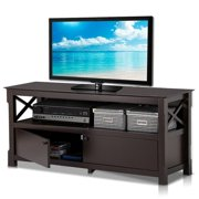 Yaheetech X-Shape Wood TV Stand Media Console Cabinet Home Entertainment Center Table for Flat Screen TVs , Espresso