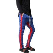 97b5f0226 Mens Stripe Track Pants Skinny Fit Elastic Athletic Training Joggers