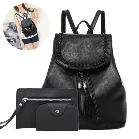 Meigar 3pcs Women Black Vintage Leather Backpack Travel Handbag Rucksack Shoulder Bag
