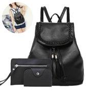 3pcs Women Girl Leather Backpack Travel Handbag Rucksack Shoulder Bag Purse  Tote 54d1a4ca3584d