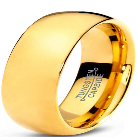 Charming Jewelers Tungsten Wedding Band Ring 7mm for Men Women Comfort Fit 18K Yellow Gold Plated Plated Domed Polished Lifetime
