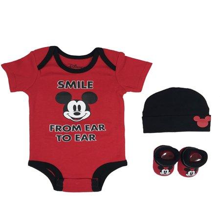 Gift Set Blanket Onesie - Mickey Mouse Short Sleeve Bodysuit, Booties & Cap Baby Shower Gift Set, 3pc (Newborn Baby Boy)