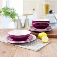 Mainstays Melamine 12-Piece Purple Dinnerware Set
