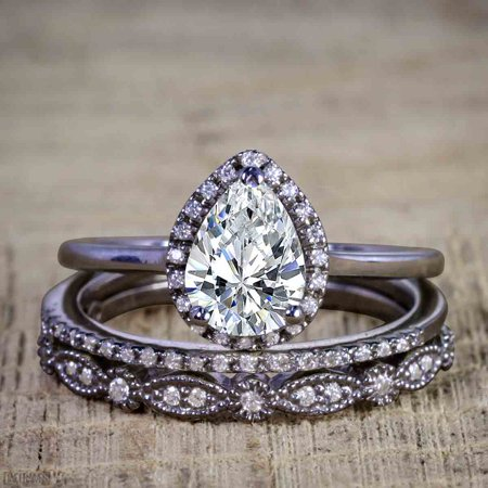 Affordable 2.50 Carat Pear cut Moissanite and Diamond Antique Wedding Trio Ring Set in Black Gold Antique White Gold Ring