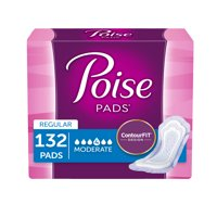 Poise Incontinence Pads for Women, Moderate Absorbency, Regular, 132 Ct