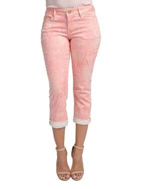 Miss Halladay women's Light Plum Stretch Twill Tree Skin Print Capri 5 Pocket Pants Cuffed Hem