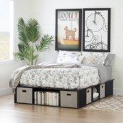 South Shore Flexible Black Oak Platform Bed with Storage and Baskets, Multiple Sizes