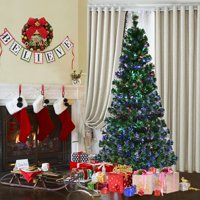 Costway 6Ft Pre-Lit Fiber Optic Artificial PVC Christmas Tree w/ Metal Stand Holiday