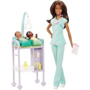 Barbie Careers Baby Doctor Nikki Doll, Brunette, with 2-Patients