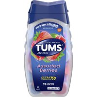 (2 Pack) Tums antacid chewable tablets for heartburn relief, extra strength, assorted berries, 96 tablets