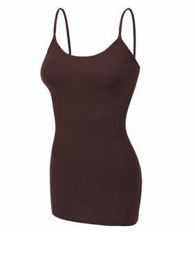 Essential Basic Women's Basic Casual Long Camisole Cami Top Regular and Plus Sizes