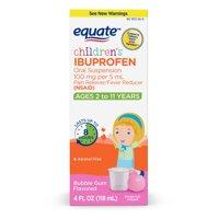 Equate Children's Ibuprofen Bubblegum Suspension, 100 mg, 4 Oz