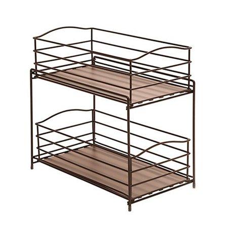 Seville Classics 2 Tier Sliding Basket Kitchen Cabinet Organizer Bronze