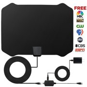 HDTV Antenna,Indoor Amplified TV Antenna 50 to 70 Miles Range with Detachable Amplifier Signal Booster and 16 Feet Coaxial Cable (Black