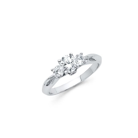 FB Jewels 925 Sterling Silver Knife Edge Trellis 3 Stone Round CZ Cubic Zirconia Engagement Ring Size 5.5