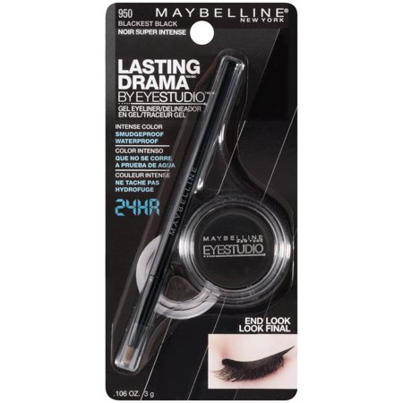 Soft Black Brow Liner - Maybelline New York Eye Studio Lasting Drama Gel Eyeliner, Blackest Black