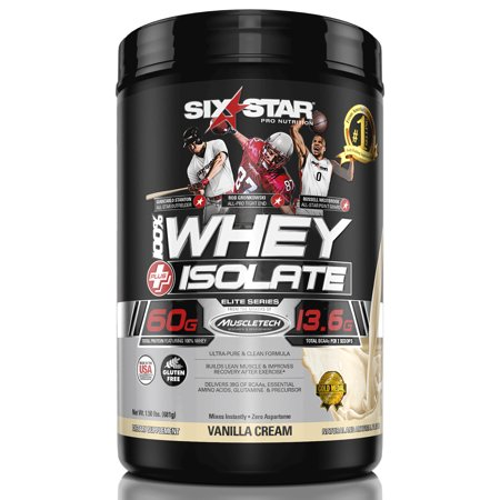 Six Star Pro Nutrition Elite Series Whey Isolate Protein Powder, Vanilla Cream, 60g Protein, 1.5
