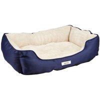 """ASPCA Striped Cuddler Dog & Cat Pet Bed, Medium, 28""""""""x18""""x8"""" Blue"""