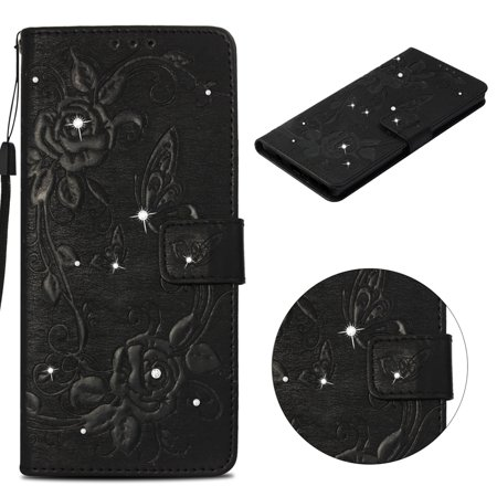 iPhone SE Case, iPhone 5/ 5S Wallet Case, Allytech PU Leather [Emboss Flower] Butterfly Diamond Rhinestone Crystal Flip Stand Case with Kickstand and Wrist Strap for iPhone 5/5S/SE,