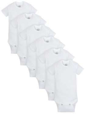 Short Sleeve White Bodysuits, 6pk (baby boys or baby girls unisex)