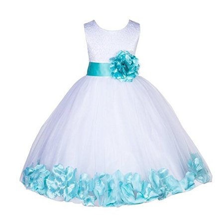 Ekidsbridal White Lace Top Tulle Bodice Floral Petals Flower Girl Dresses Formal Special Occasions Dresses Wedding Pageant Recital Reception Ceremony Graduation Birthday Girl Party Ball Gown 165S - Girls Party Dresses