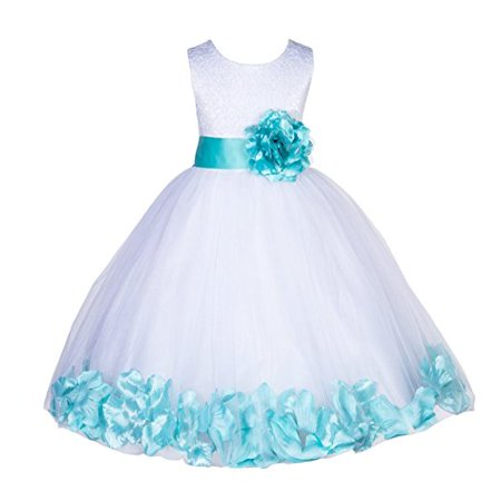 Ekidsbridal White Lace Top Tulle Bodice Floral Petals Flower Girl Dresses Formal Special Occasions Dresses Wedding Pageant Recital Reception Ceremony Graduation Birthday Girl Party Ball Gown 165S - Flower Girl Dresses For Little Girls