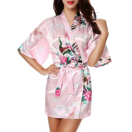 Pink Sateen Cotton Robe - Womens Floral Silk Satin Kimono Robe Dressing Gown Wedding Babydoll Nightwear