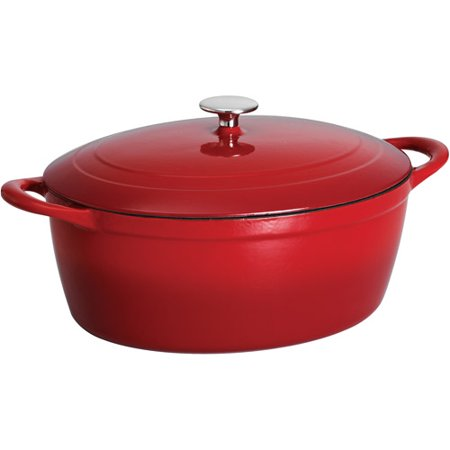 Cast Iron Service Sink - Tramontina 7-Quart Gourmet Cast Iron Covered Oval Dutch Oven