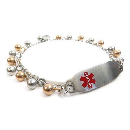 MyIDDr - Engraved CAL Lung Disease Medical Alert Bracelet, Steel Rain Drop - Lung Cancer Bracelets