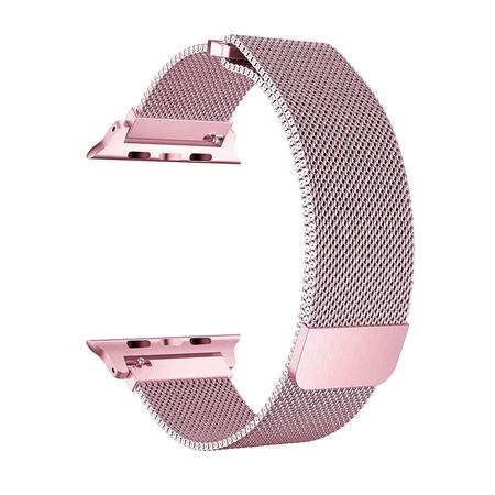 - Apple Watch Band 40mm, Stainless Steel Mesh Milanese Loop with Adjustable Magnetic Closure with Clear Hard Case for Apple Watch Series 3 2 1 (40mm Pink)