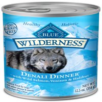 Blue Buffalo Wilderness Denali Dinner High Protein Grain Free, Natural Wet Dog Food, Wild Salmon, Venison & Halibut, 12.5-oz cans, Case of 12