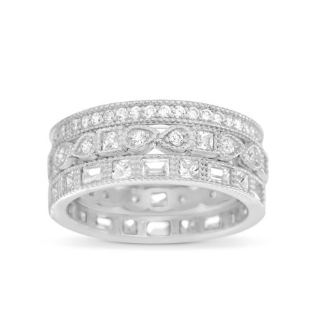 Quartz Antique Style Ring - Inspired by You Round Bead Set Cubic Zirconia Antique Style Eternity Band 3pc Bridal Ring Set for Women in Rhodium Plated 925 Sterling Silver