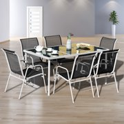 Gymax 7PC Patio Table Chairs Furniture Set Outdoor Garden Dining Set Glass Table Top