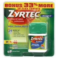 Zyrtec Allergy Tablets, 10 mg, 40 count