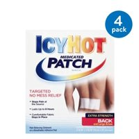 (4 Pack) Icy Hot Extra Strength for Back and Large Areas Medicated Patch,5 ct, Menthol 5%