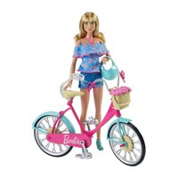 Barbie Riding Bicycle with Flower Basket and Helmet