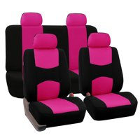 FH Group Universal Flat Cloth Fabric Full Set Car Seat Cover, Pink and Black