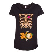 c9c22f33 Baby Skeleton Baby Pumpkin Lantern Halloween Horror Funny Maternity DT T- Shirt Tee